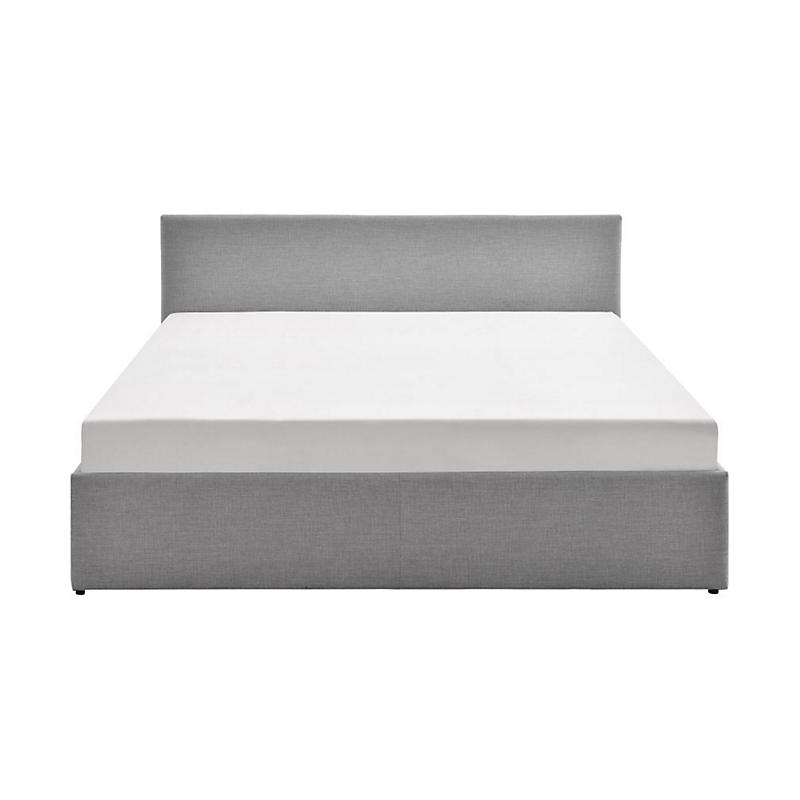 Cadre de lit coffre avec tête de lit en tissu gris 140x190 IZY