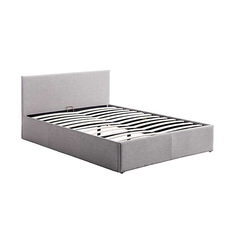 Cadre de lit coffre avec tête de lit en tissu gris clair 160x200  IZY