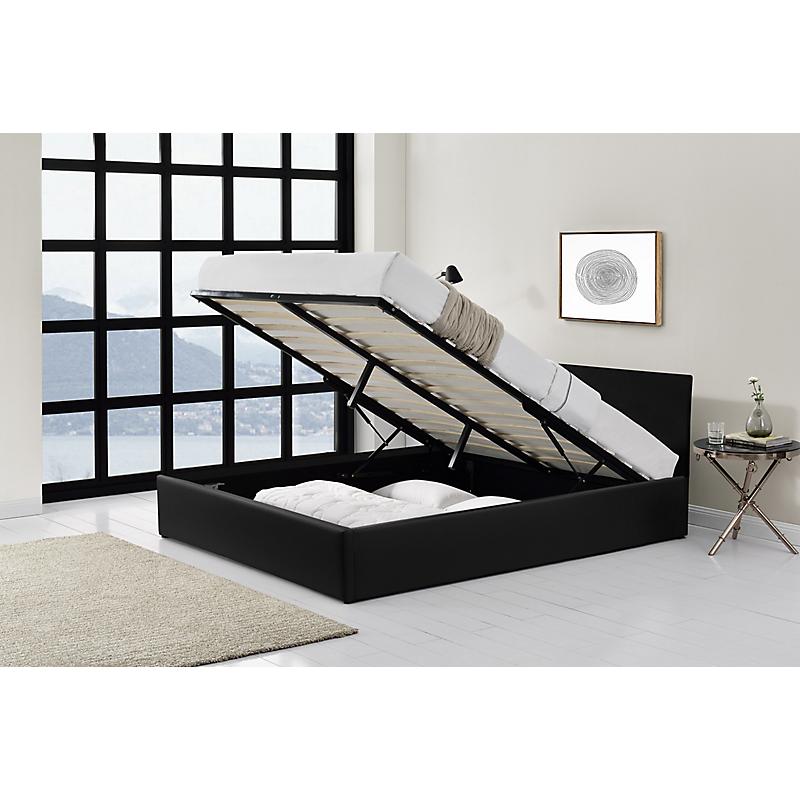 Cadre de lit coffre avec tête de lit en PU noir 160x200  IZY