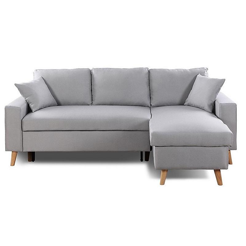Canapé d'angle scandinave réversible convertible avec coffre en tissu gris clair OLGA