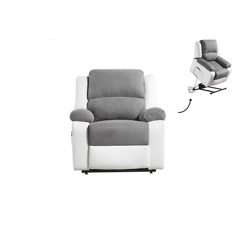 Fauteuil de relaxation électrique avec releveur Blanc/Gris RELAX II