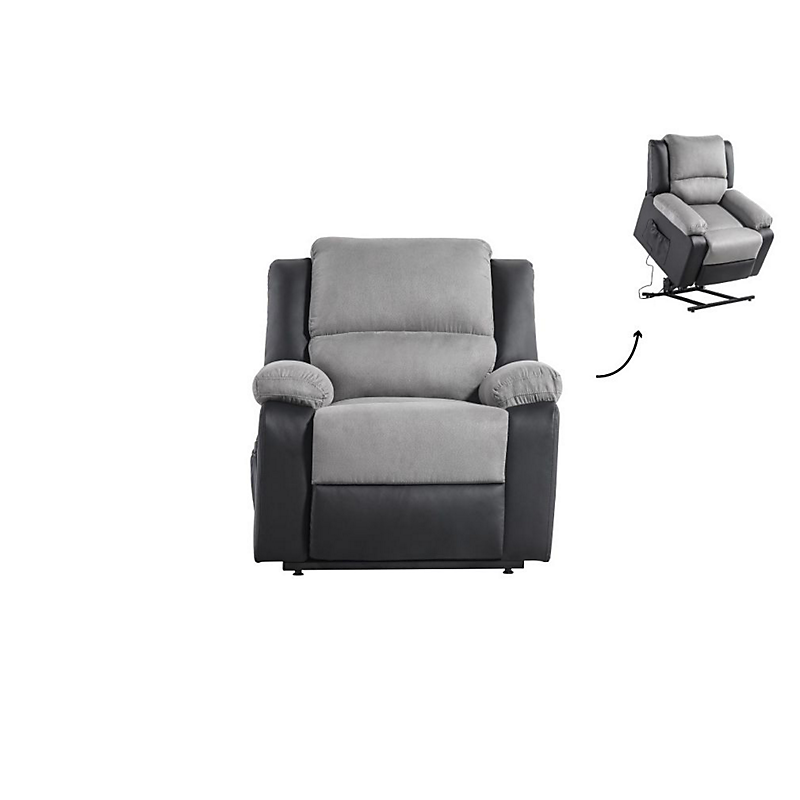 Fauteuil de relaxation éléctrique avec releveur Noir/Gris RELAX II