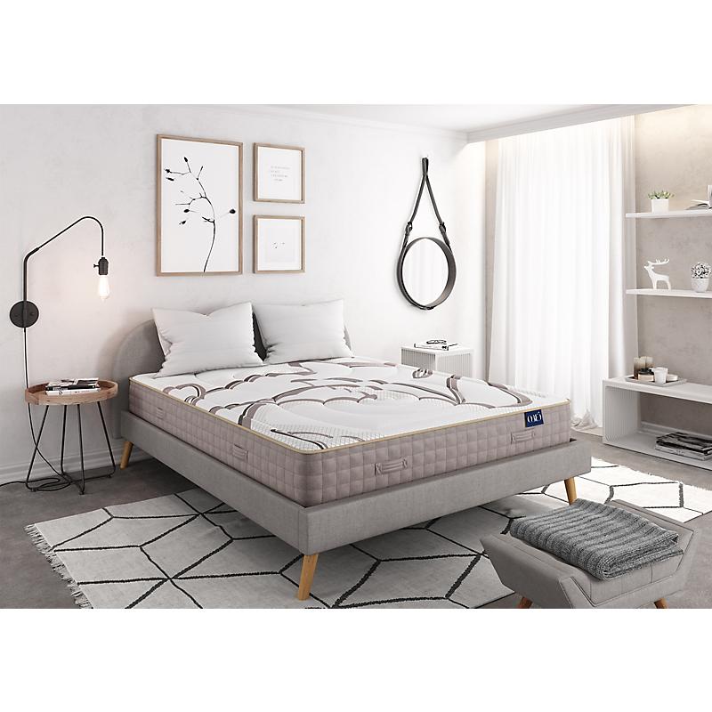Matelas Mousse NATURA à mémoire de forme VISCOSOJA® 160x200 blanc/beige