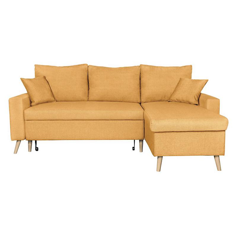 Canapé d'angle scandinave réversible convertible avec coffre en tissu jaune OLGA