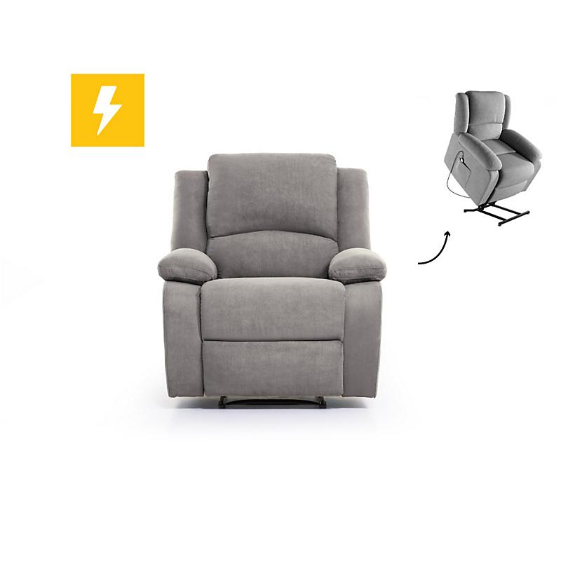 Fauteuil de relaxation électrique avec releveur microfibre grise RELAX II