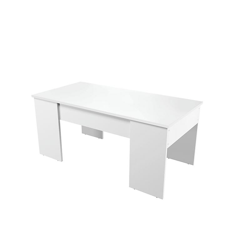 Table basse avec plateau relevable et rangement Blanc VIK