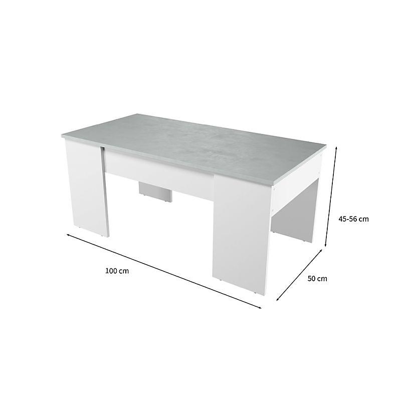 Table basse avec plateau relevable et rangement Blanc/Bois VIK