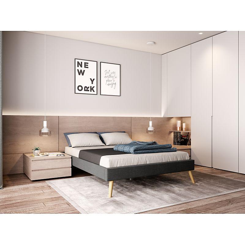 Cadre de lit scandinave en tissu gris foncé 140x190 EMMA