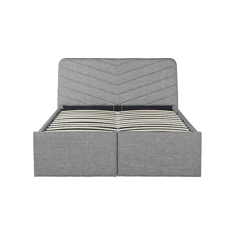Cadre de lit TINO avec rangements et sommier relevable à lattes gris clair 140 x 190 cm