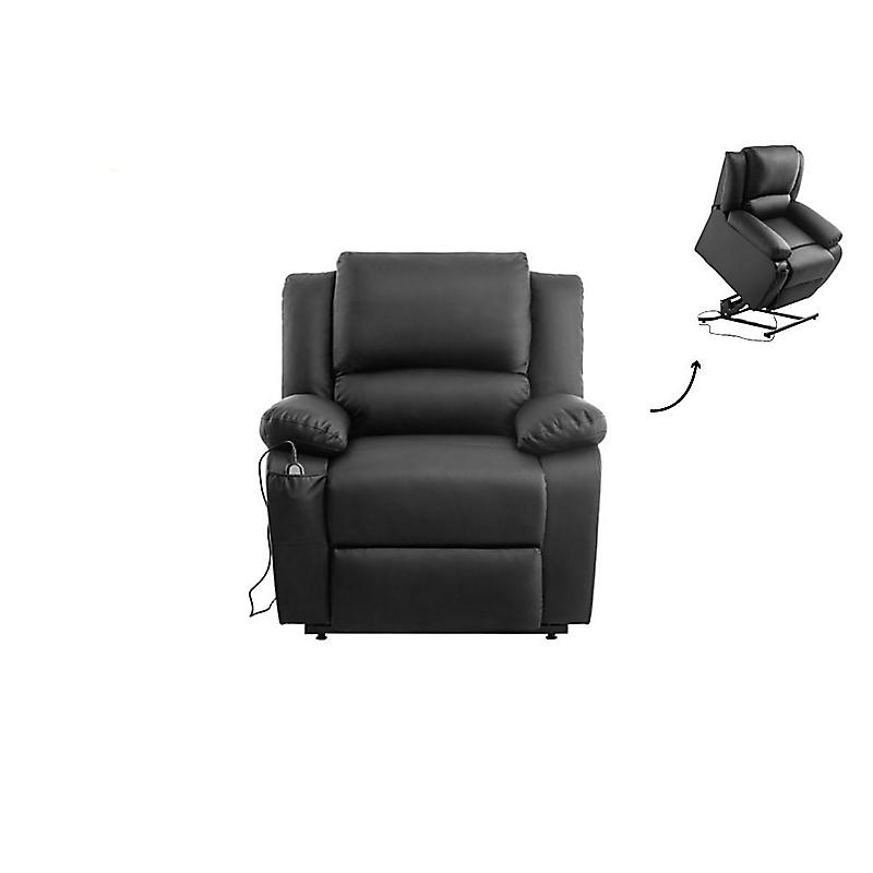 Fauteuil de relaxation électrique avec releveur en  simili noir RELAX II