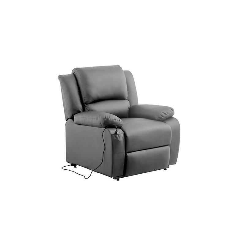 Fauteuil de relaxation électrique avec releveur en simili gris RELAX II