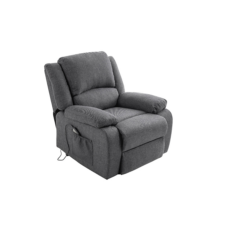 Fauteuil de relaxation électrique avec releveur en  tissu gris foncé RELAX II