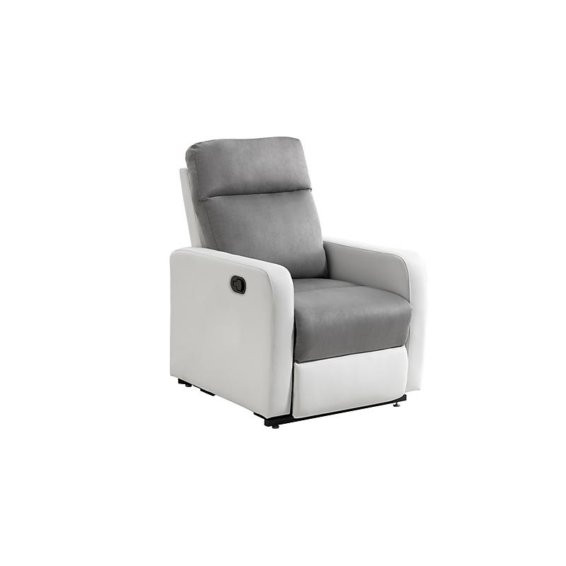 Fauteuil relaxation manuel EDGAR en PU blanc et Microfibre grise