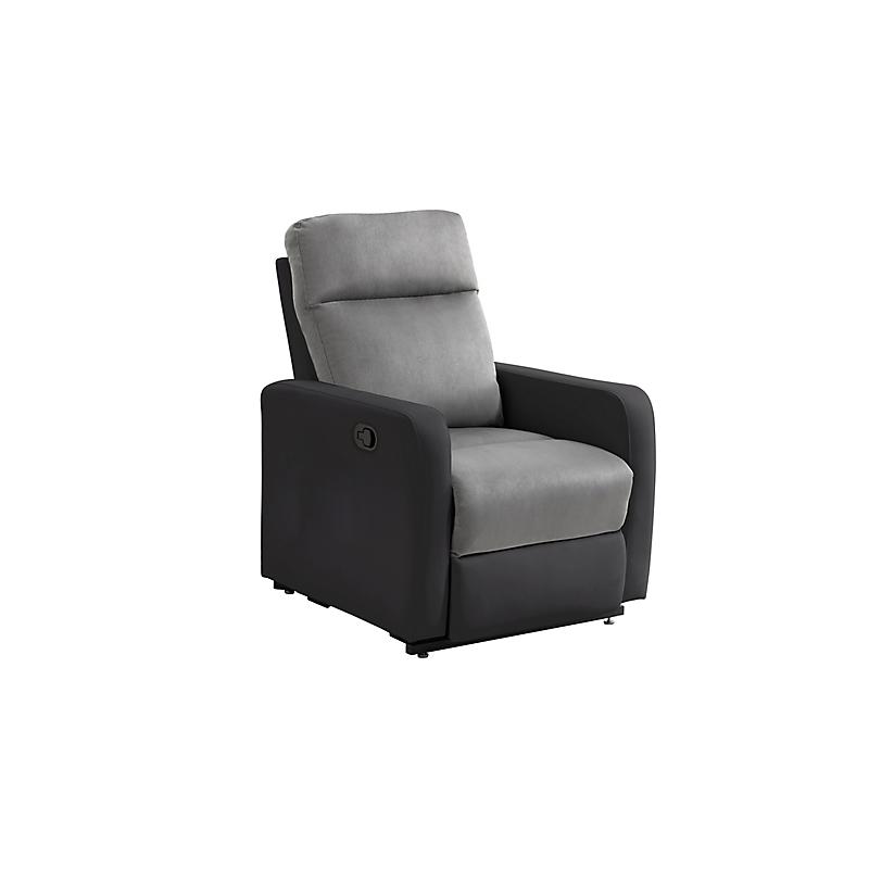Fauteuil relaxation manuel EDGAR en PU Noir et Microfibre grise