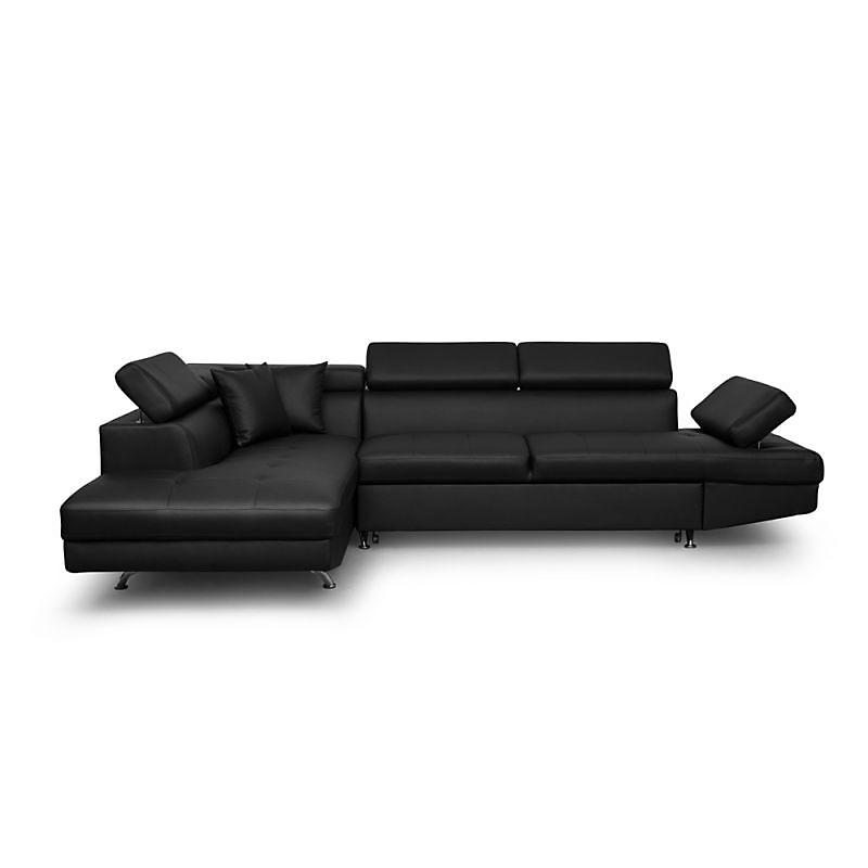 Canapé d'angle gauche convertible 5 places PU noir - RIO