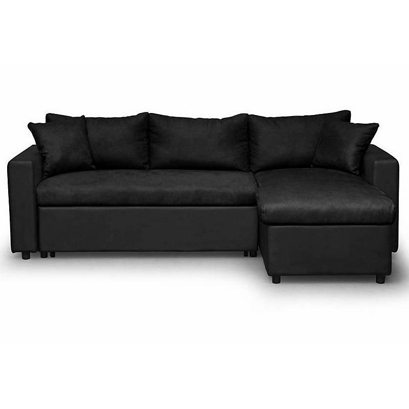 Canapé d'angle convertible réversible avec coffre microfibre noir MARIA