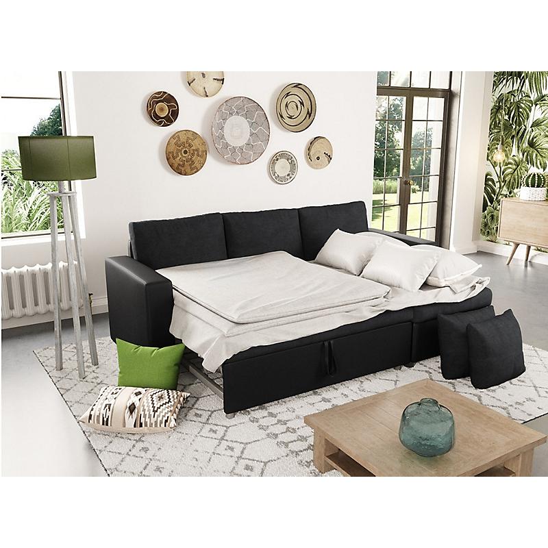 canap d angle convertible r versible avec coffre microfibre noir maria maison et loisirs e. Black Bedroom Furniture Sets. Home Design Ideas