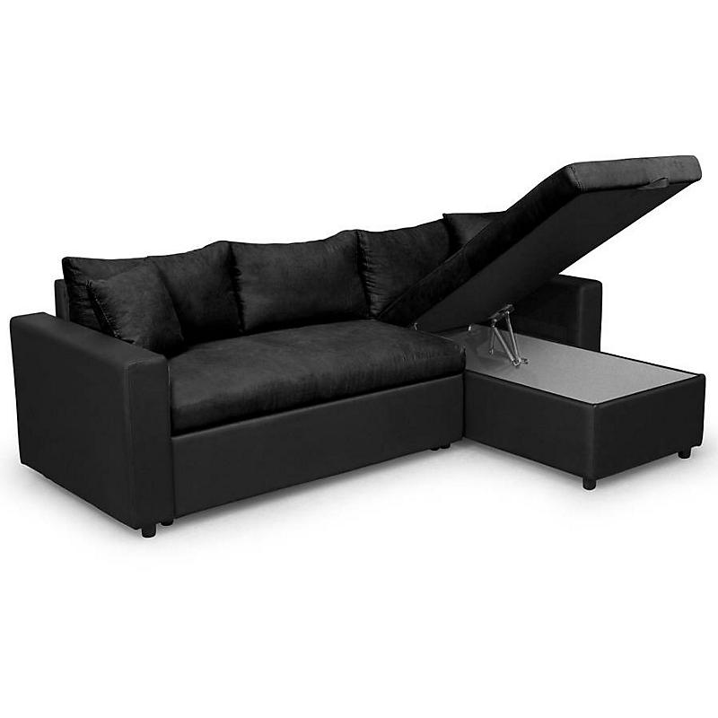 Canapé d'angle convertible réversible avec coffre microfibre noir JADE