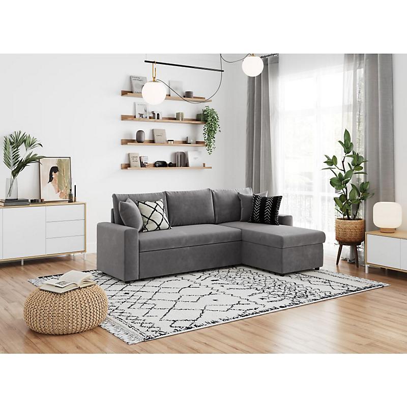 canap d 39 angle convertible r versible maria microfibre gris maison et loisirs e leclerc. Black Bedroom Furniture Sets. Home Design Ideas
