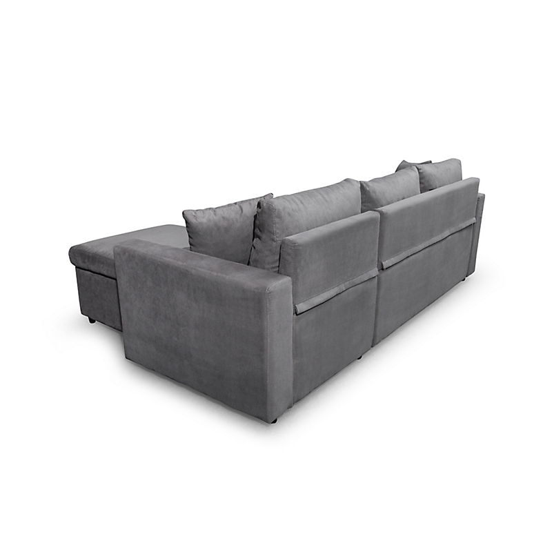 Canapé d'angle convertible réversible avec coffre microfibre gris MARIA