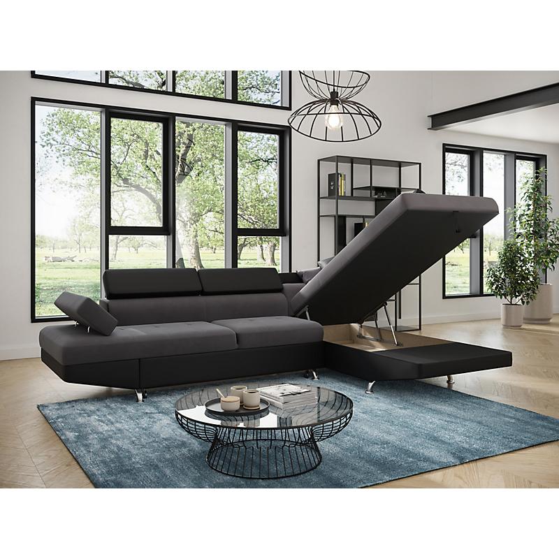 Canapé d'angle droit convertible 5 places gris/noir - RIO