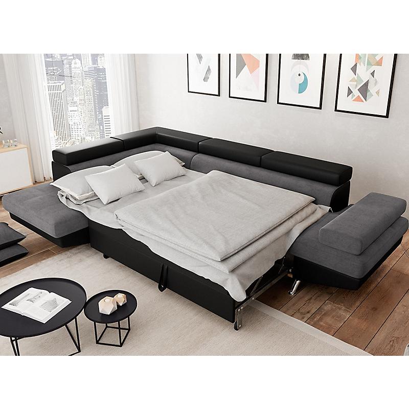 Canapé d'angle gauche convertible 5 places gris/noir - RIO