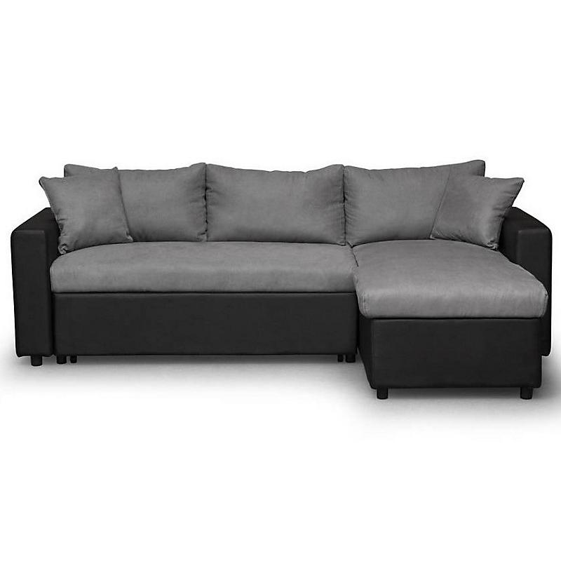 Canapé d'angle convertible réversible avec coffre noir/gris MARIA