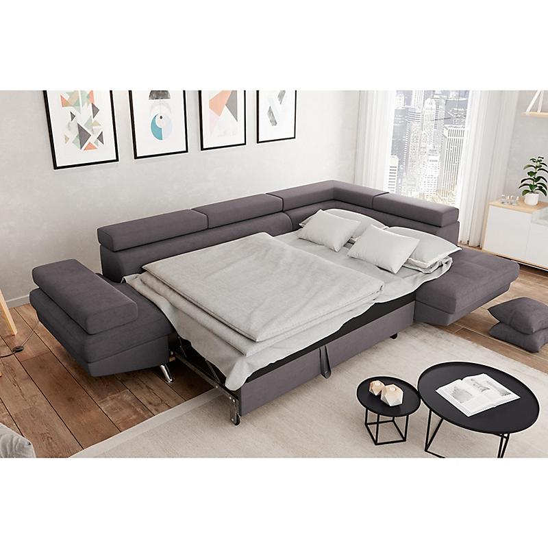 Canapé d'angle droit convertible 5 places microfibre gris - RIO