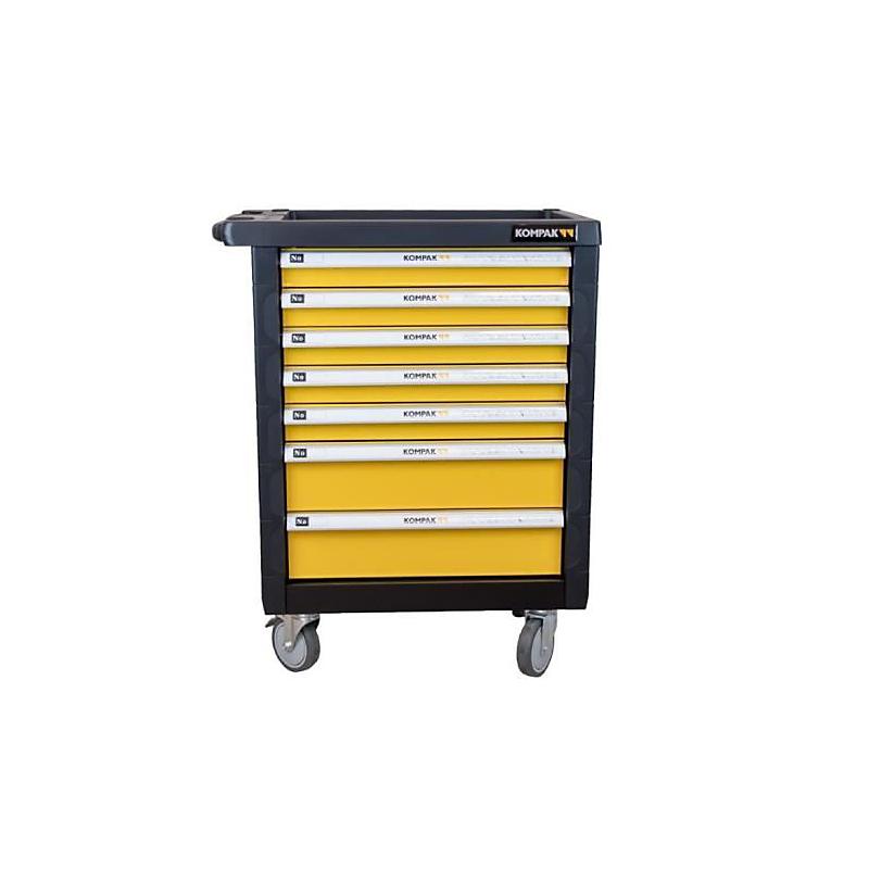 Servante d'atelier 7 tiroirs jaune + 173 outils