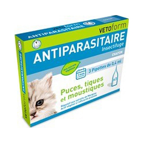Pipettes anti-parasitaire chatons 3 x 0,4ml
