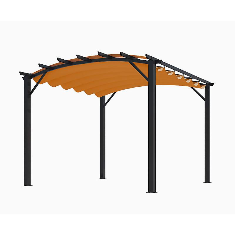 Pergola arche aluminium/acier avec toit en toile rouille 11,22 m²  - HABRITA