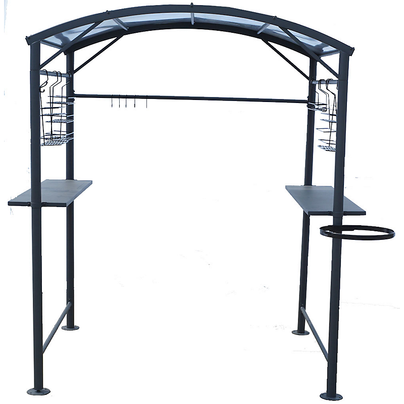 Carport barbecue acier gris anthracite