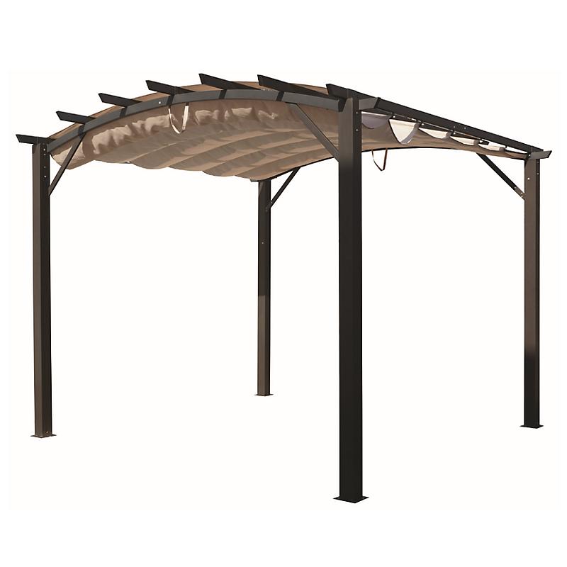 Pergola arche aluminium/acier avec toit en toile écru 11,22 m²  - HABRITA