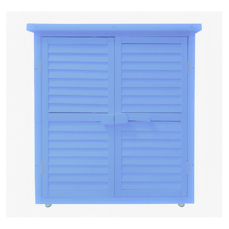 Armoire de rangement lasurée bleue équipée de 3 étages