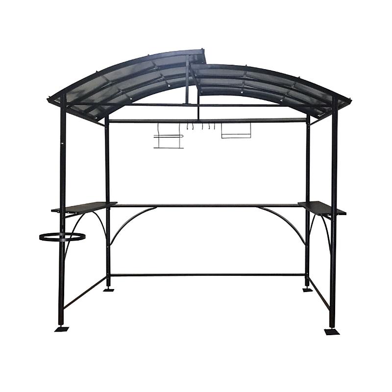 Carport Barbecue Autoportant A Double Toit Finition Epoxy Gris Anthracite Maison Et Loisirs E Leclerc