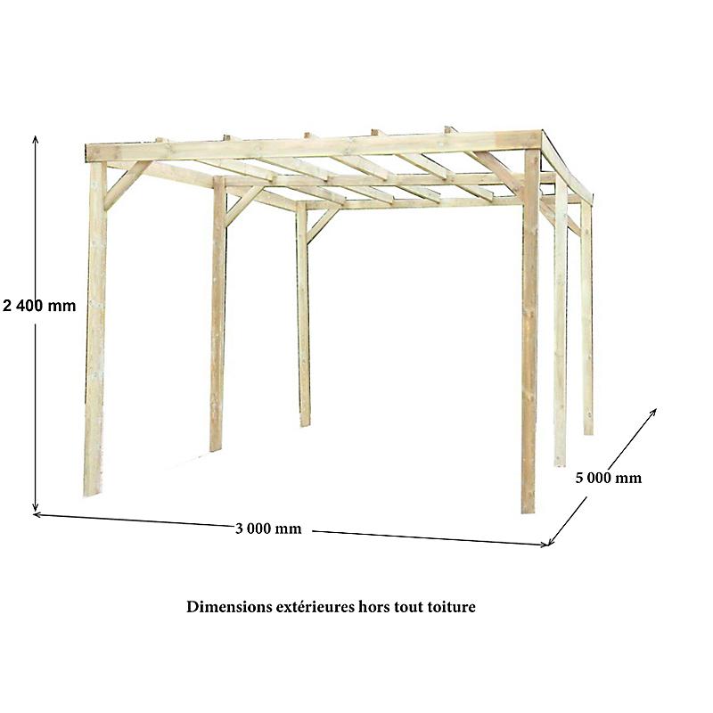 Carport bois sans couverture 15 m²