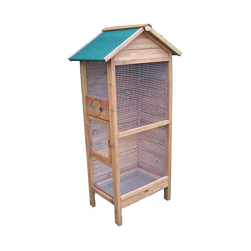 Cage à oiseaux 0,42 m² pin massif