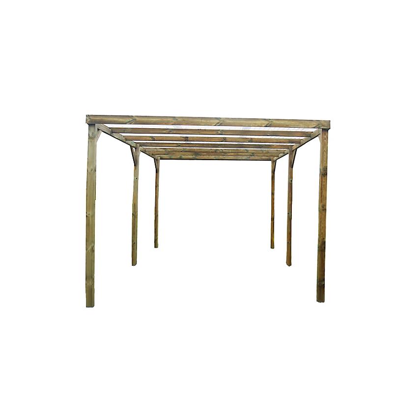 Carport toit plat bois 15 m² - HABRITA
