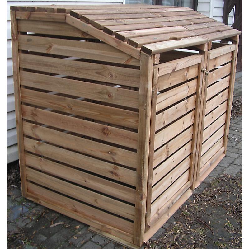 Cache-poubelle en bois avec 2 enclos