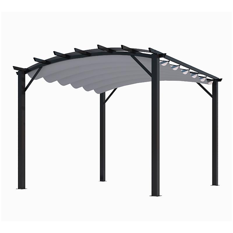 Pergola arche aluminium/acier anthracite toile gris 140 gr/m² - HABRITA