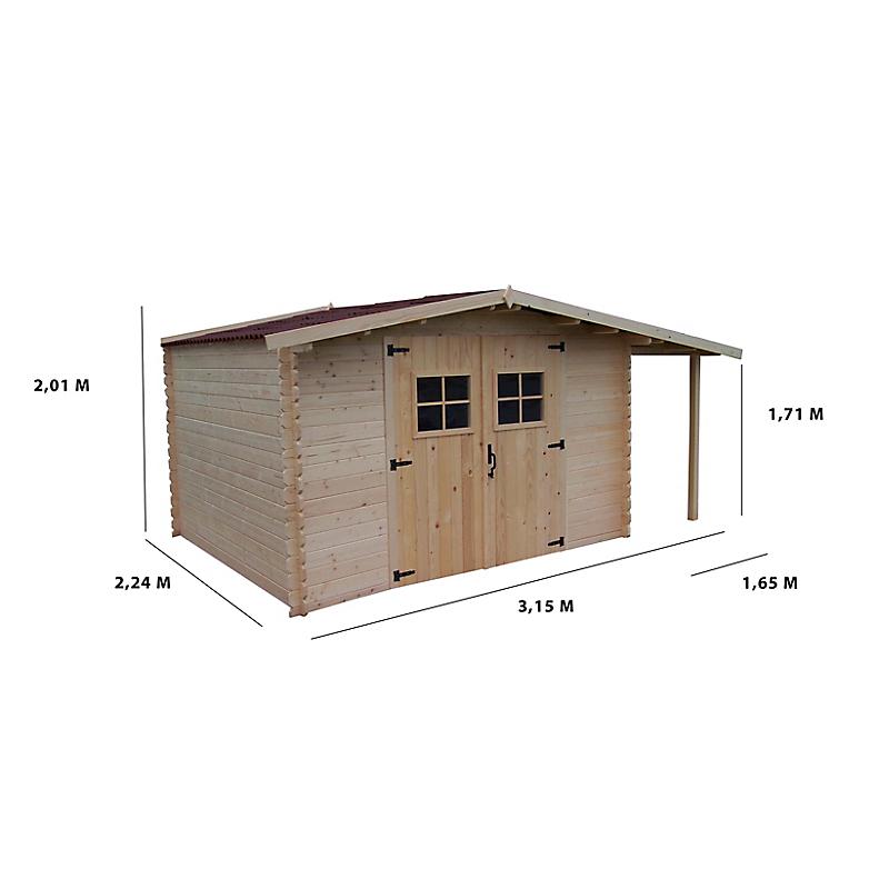 Abri de jardin avec bûcher en bois HABRITA 28 mm 5 + 3 m² épicéa massif
