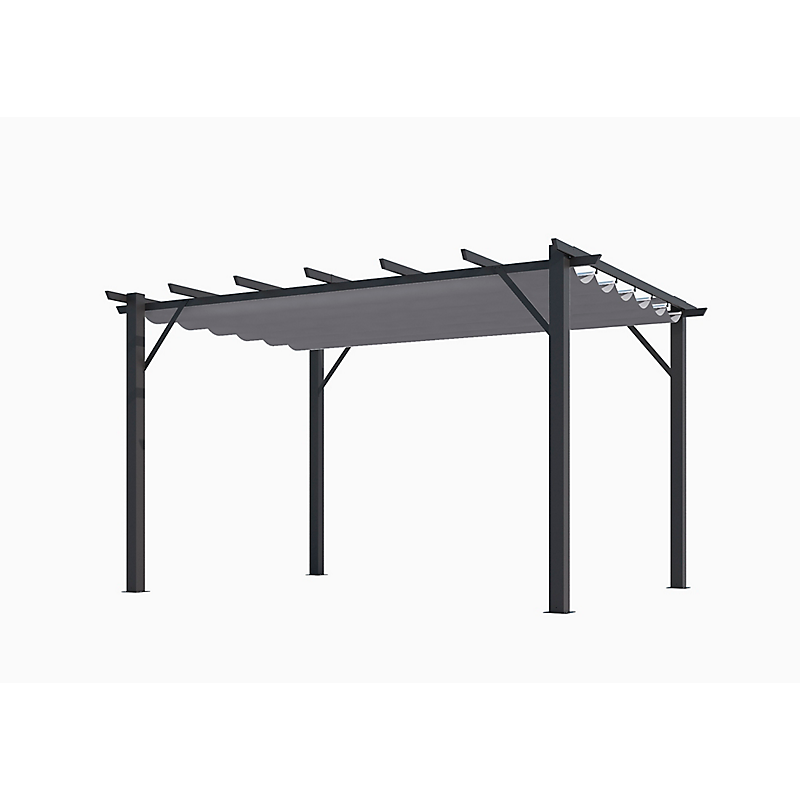 Pergola 100 Aluminium Gris Anthracite Toile Grise Maison Et Loisirs E Leclerc