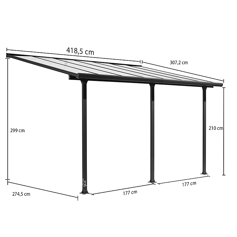 Toit Terrasse Aluminium 4,18m x 3,07m (12,83 m²)