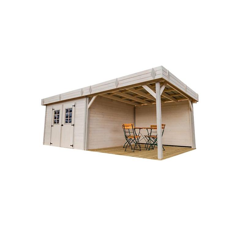 Abri de jardin avec terrasse 28 mm 8,97 m²
