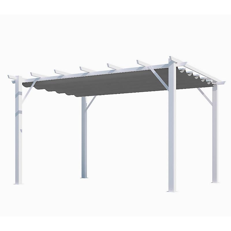 Pergola 100 % aluminium blanc/toile gris