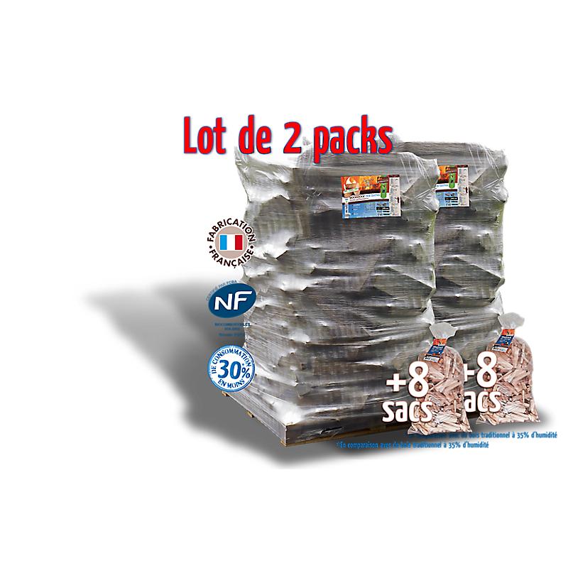 2 packs WOODSTOCK : bûches de 25 cm + bois d'allumage