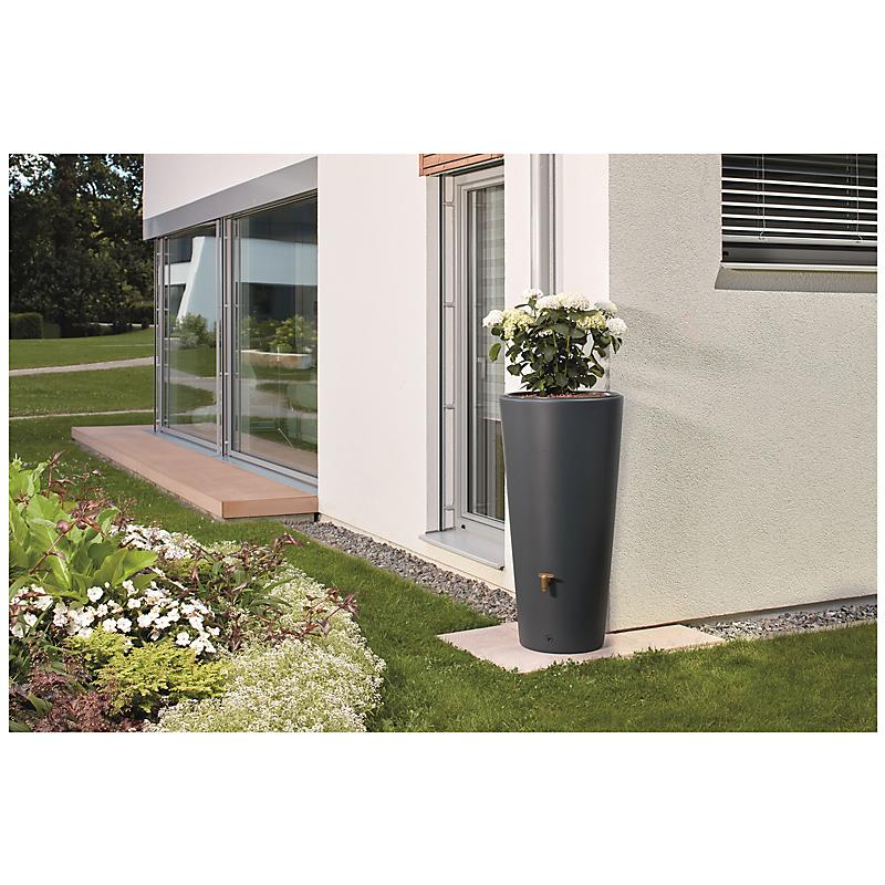 """Récupérateur d'eau 2 en 1 """"VASO"""" 220 L gris graphite"""