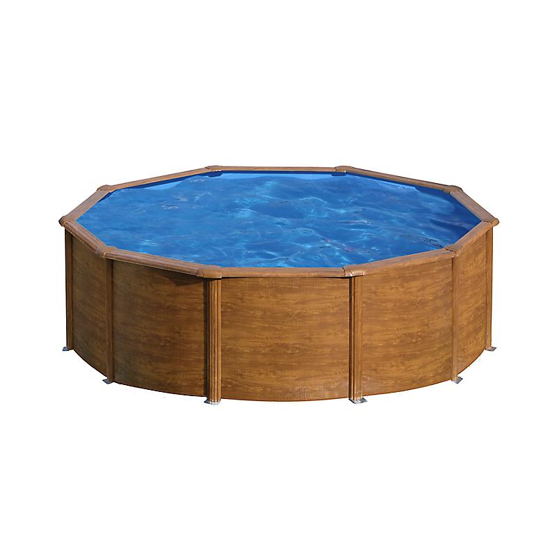 Piscine ronde acier Ø4,80m x H 1,22m - Imitation bois