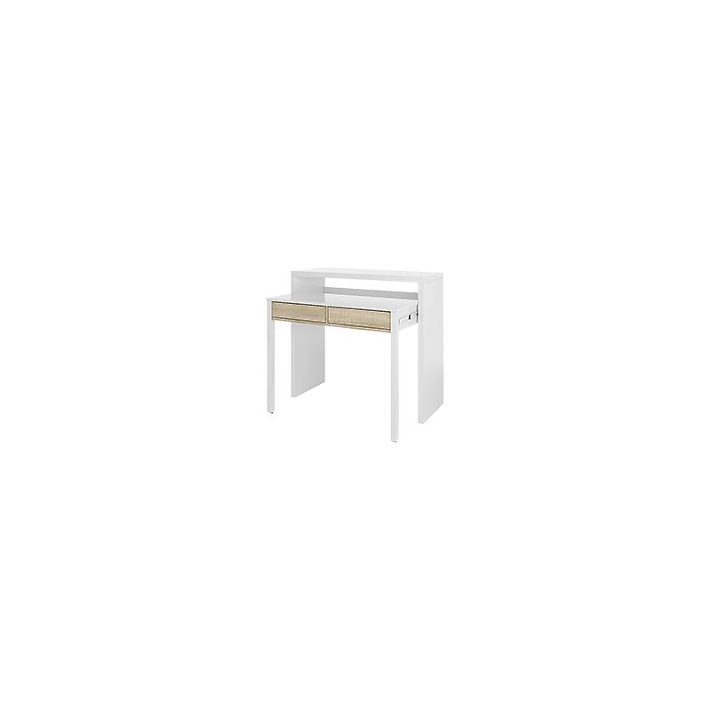 Bureau / Console Extensible blanc bois 2 tiroirs L99 x P36 x H88 cm