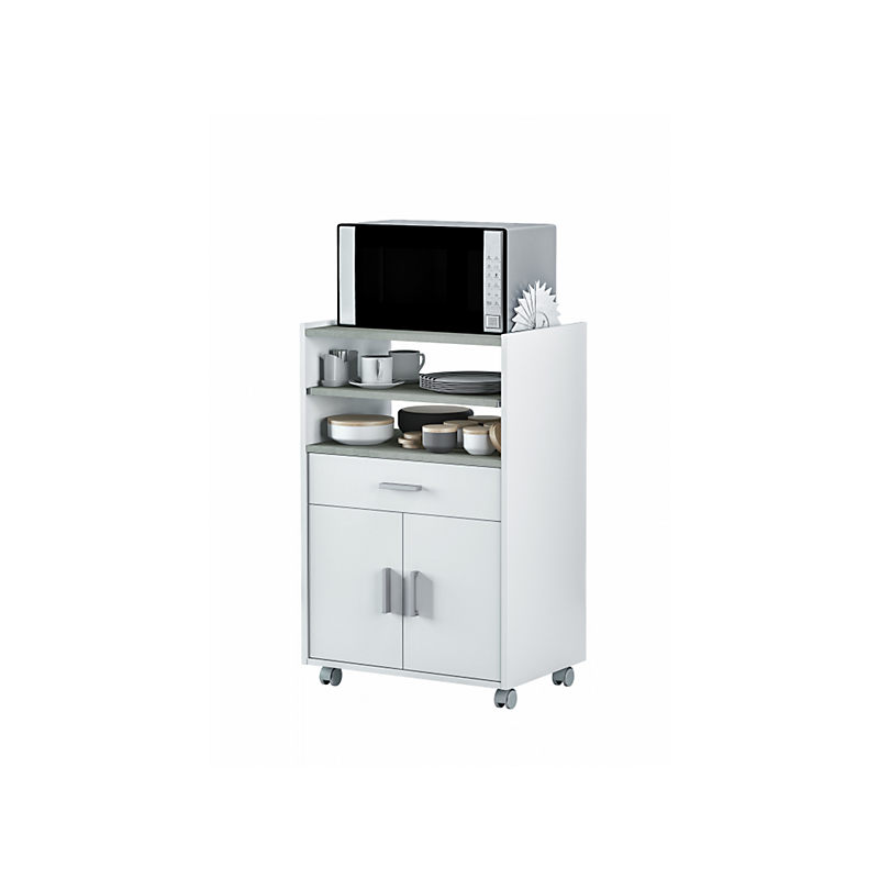 Desserte micro-ondes L59 x P40 x H92 cm Blanc/béton